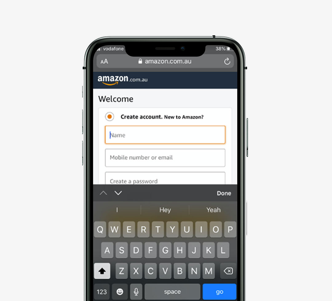 Amazon mobile keyboard input type mockup