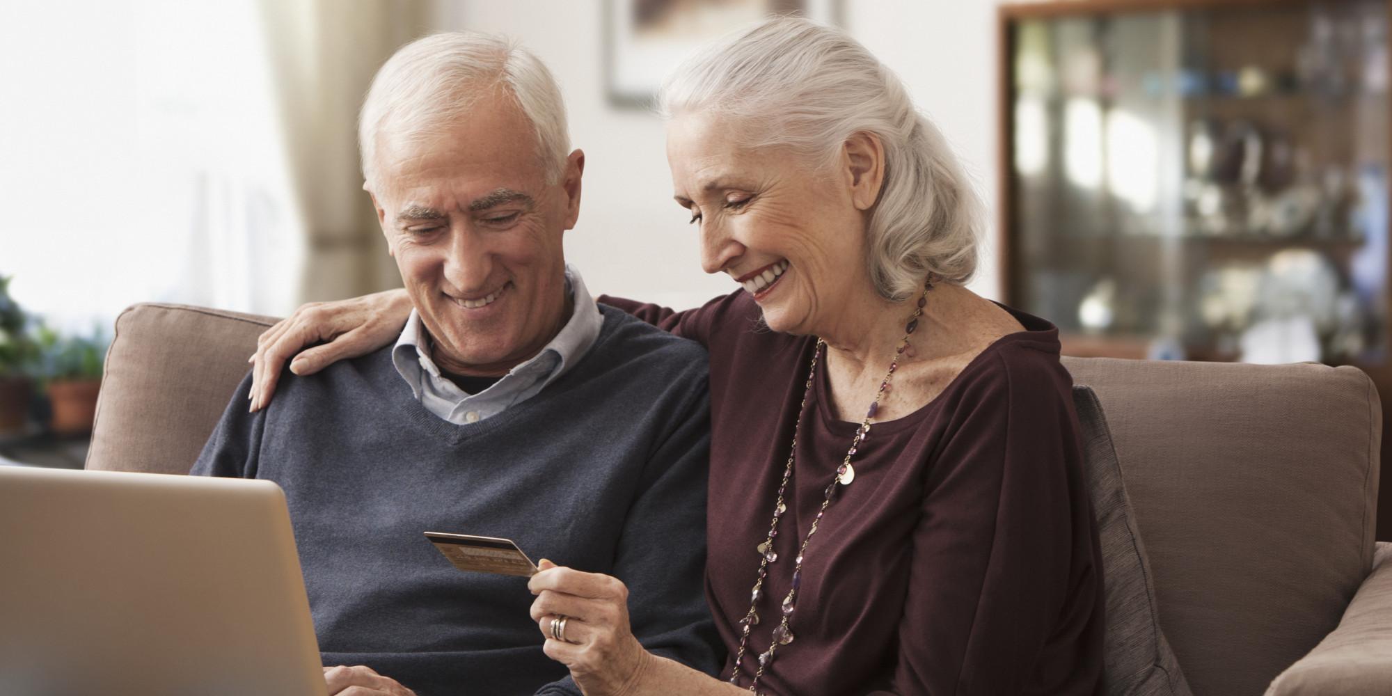Older couple shopping online
