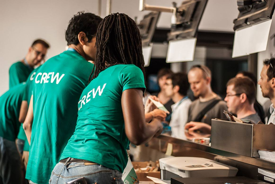 Employees serving customers