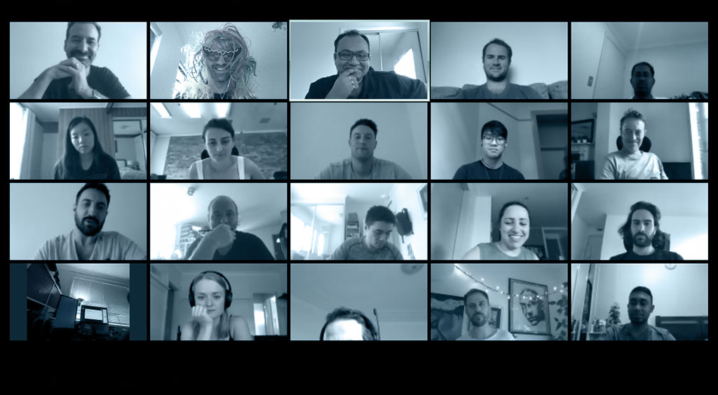 The Sitback team working from home on a video call